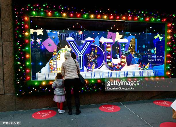 A view of the window display as Macy's Herald Square unveils Give Love Believe 2020 Holiday Windows on November 19 2020 in New York City