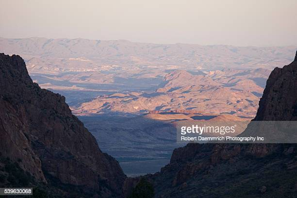 """View of """"The Window"""" looking west from the Basin in the Chisos Mountains of Big Bend National Park, situated on the remote Texas-Mexico border."""