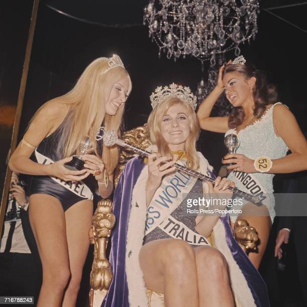 View of the winner of the 1968 Miss World beauty pageant Penelope Plummer of Australia with 1st runnerup Kathleen Winstanley of the United Kingdom on...