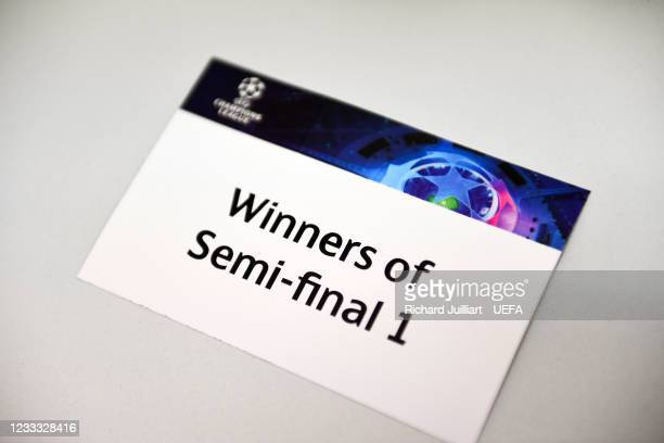 View of the Winners of Semi-final 1 card ahead of the UEFA Champions League 2021/22 Preliminary Round draw at the UEFA headquarters, The House of...
