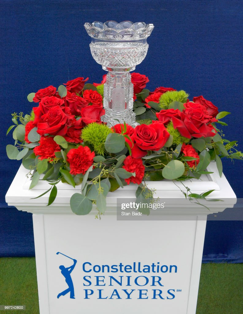 A view of the winner's trophy displayed on the first hole during the first round of the PGA TOUR Champions Constellation SENIOR PLAYERS Championship at Exmoor Country Club on July 12, 2018 in Highland Park, Illinois.