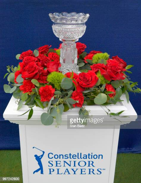 A view of the winner's trophy displayed on the first hole during the first round of the PGA TOUR Champions Constellation SENIOR PLAYERS Championship...