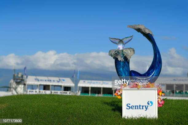 View of the winner's trophy during the second round of the Sentry Tournament of Champions at Plantation Course at Kapalua on January 4, 2019 in...