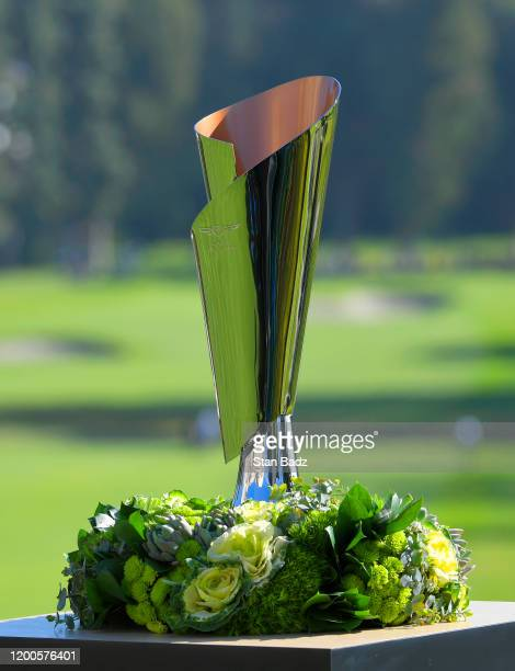 View of the winners trophy on the first hole during the first round of the Genesis Invitational at Riviera Country Club on February 13, 2020 in...