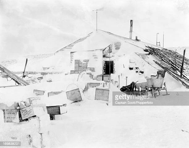 A view of the Winter Quarters or expedition hut at Cape Evans photographed during the last tragic voyage to Antarctica by Captain Robert Falcon Scott...