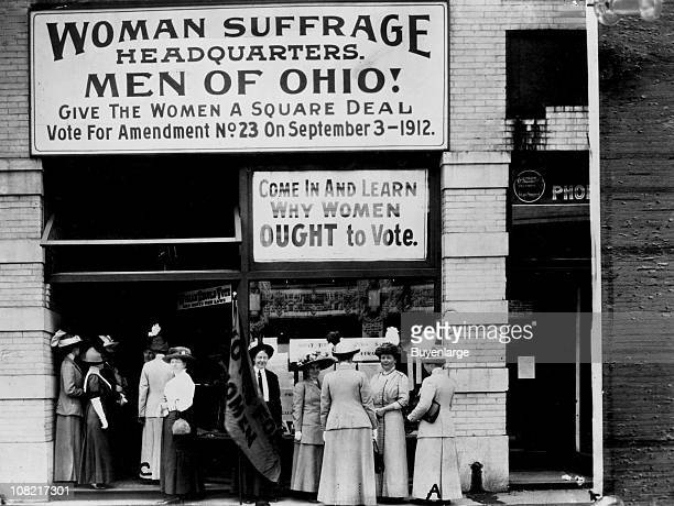 View of the Woman Suffrage Headquarters located on Upper Euclid Avenue in Cleveland OH September 1912 At extreme right is Miss Belle Sherwin...