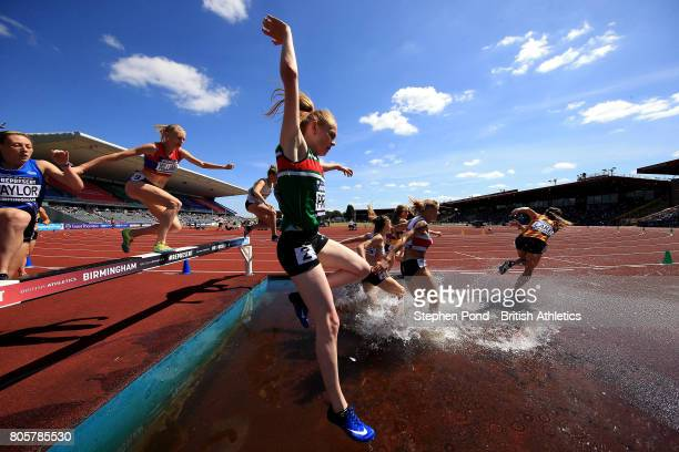 A view of the Women's 3000m Steeplechase during day two of the British Athletics World Championships Team Trials at Birmingham Alexander Stadium on...
