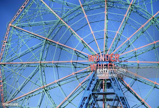 View of The Wonder Wheel ride at the Coney Island Boardwalk in New York on January 22 2019 The Wonder Wheel is and official New York City landmark...
