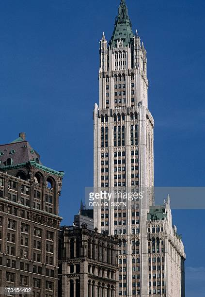 View of the Woolworth Building designed by Cass Gilbert Manhattan New York New York United States