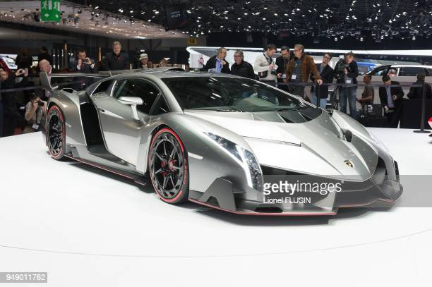View of the World Premiere Veneno shown on the Lamborghini stand at the Geneva Motor Show, on March 6, 2013 in Geneva in Switzerland.