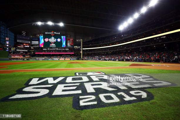 A view of the world series logo prior to Game Seven of the 2019 World Series between the Houston Astros and the Washington Nationals at Minute Maid...