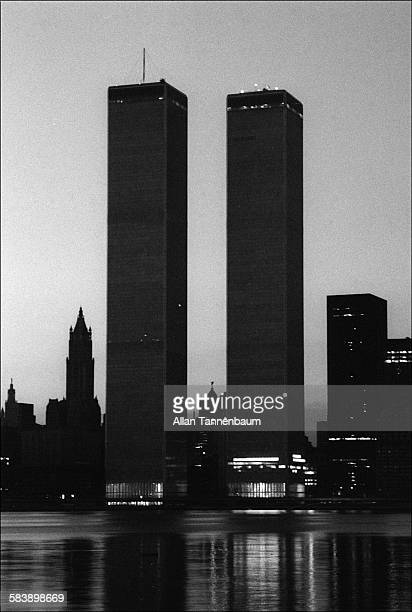View of the World Trade Center at dawn during a citywide blackout New York New York July 14 1977