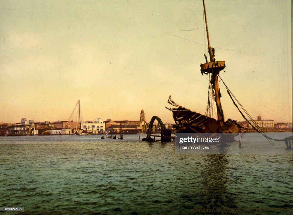 View of the wreck of the USS Maine, in Havana harbor, Cuba, 1900.