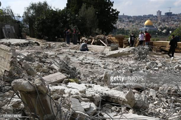 View of the wreckage after heavy duty machines demolished a house of Palestinian Yasser Abu al-Heva, in East Jerusalem on November 11, 2020. Israeli...