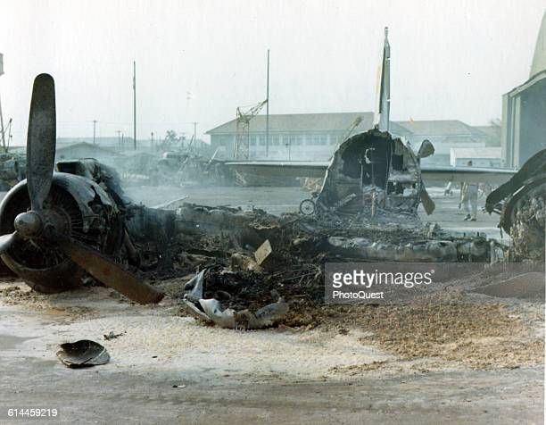 View of the wreckage of a Douglas C47 Skytrain destroyed by a rocket and mortar attack during the Tet Offensive Tan Son Nhut Air Base February 1 1968