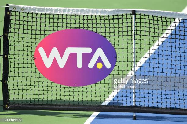 View of the WTA logo on the net U.S. During Day Five of the Citi Open at the Rock Creek Tennis Center on August 1, 2018 in Washington, DC.