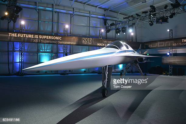A view of the XB1 Supersonic Demonstrator at the official unveiling at the Boom Technologies hanger on November 15 2016 in Englewood Colorado