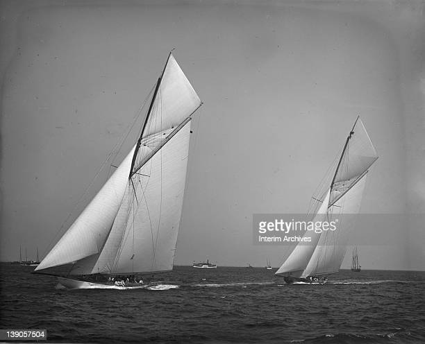 View of the yachts Columbia and Shamrock II before the start of the America's Cup races October 3 1901