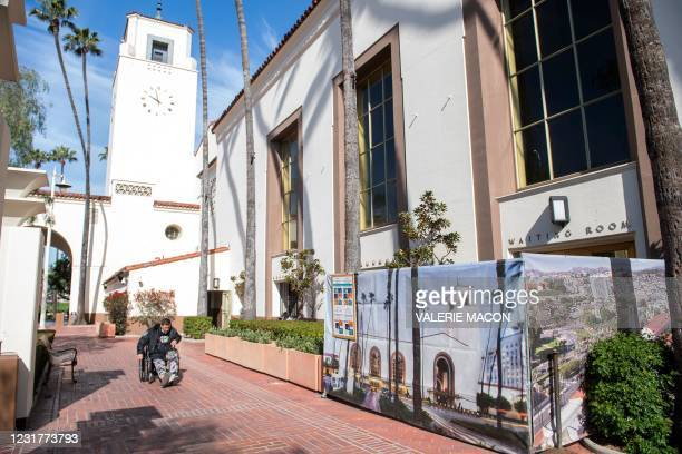 View of the yard of the Union Station, downtown L.A. Where part of the Oscars Ceremony will take place Sunday, April 25, in Los Angeles, California,...