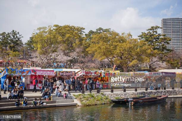 A view of the Yatai food stands during the festival Spring arrives and 800 Sakura cherry trees spread in the area around Okazaki Castle showing their...