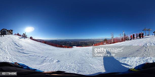 View of the Yongpyong Alpine Centre during the Alpine FEC And President Cup 2017 test event for Pyeongchang 2018 Olympic Winter Games at Yongpyong...