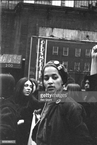 View of the Young Lord's Minister of Finance Denise Oliver as she participates in a demonstration New York New York December 1969 The demonstration...