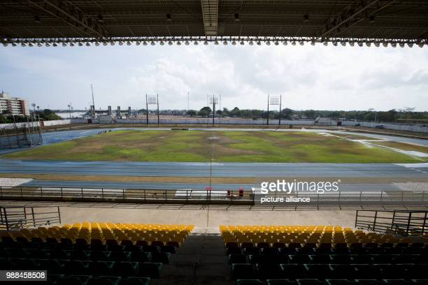 View of the Zerao soccer stadium in Macapa Brazil 17 November 2017 Measurements show that the equator draws through this arena without touching the...