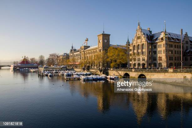View of the Zurich old town on the Limmat River on January 03 2019 in Zurich Switzerland The Limmat river commences at the outfall of Lake Zurich...