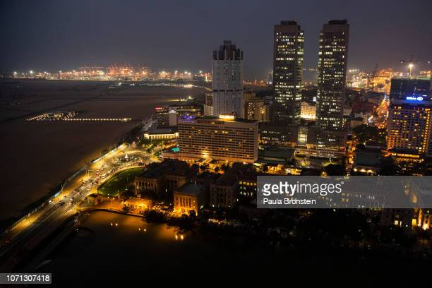 A view of thew Colombo city along the ocean front showing land reclaimed from the Indian Ocean and funded with $14billion in Chinese investment on...