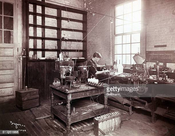 View of Thomas Edison's electrical laboratory at Menlo Park, New Jersey, showing the galvanizing room with early electric bulbs. Undated photograph.