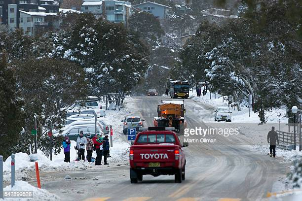 A view of Thredbo village on June 25 2016 in Thredbo Australia Snow has been forecast across Eastern Australia as cold front continues to bring low...