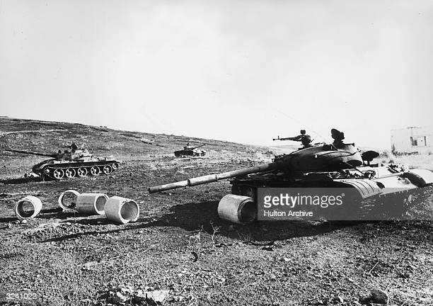 A view of three destroyed Syrian tanks on the front during the Yom Kippur ArabIsraeli War Syria Israel retained control of its territories in the...