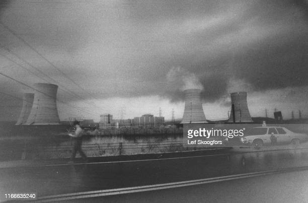 View of Three Mile Island Nuclear Generating Station several days after a partial meltdown and radiation leak at the plant Middletown Pennsylvania...