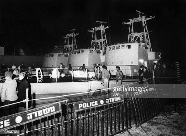View of three of the five french missile boats bought by the Israeli army arriving in the port of Haifa from the French shipyard of Cherbourg in the...