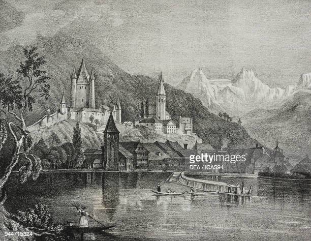 View of Thun Canton of Bern Switzerland lithograph by Salvatore Puglia from Poliorama Pittoresco n 35 April 9 1842