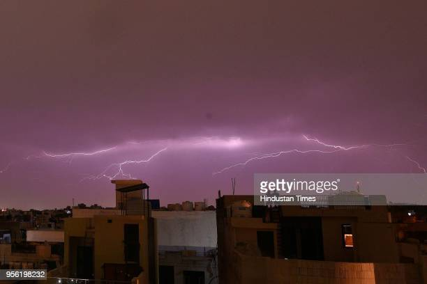 A view of thunderstorm and lightening at Patel Nagar on May 8 2018 in New Delhi India Dust storms rain and thunder lashed out in parts of northern...