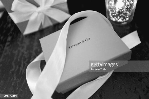View of Tiffany Co gift box at the 61st Annual GRAMMY Awards Nominee Reception at Ebell of Los Angeles on February 9 2019 in Los Angeles California