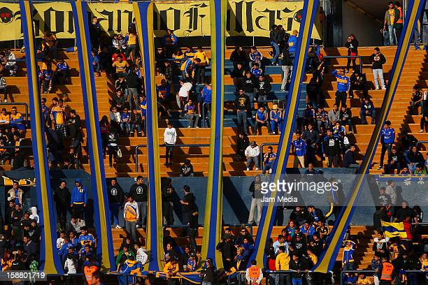 View of Tigre fans during a friendly match between Tigres and Cruz Azul as previous to the MX League Clausura 2013 at the University Stadium on...