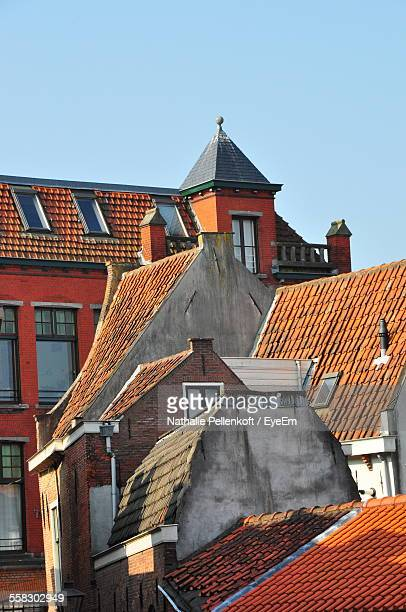 view of tiled roofs against clear sky - nathalie pellenkoft stock pictures, royalty-free photos & images