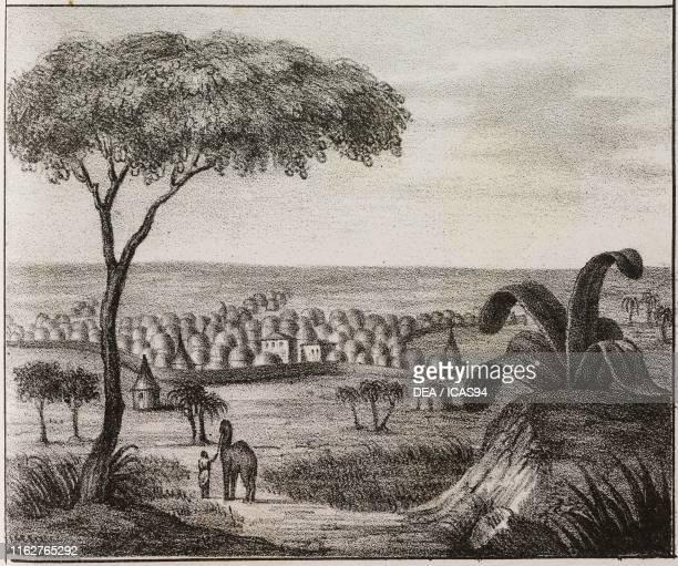 View of Timbuktu Mali Africa lithograph from Galleria universale di tutti i popoli del mondo ossia storia dei costumi religioni riti governi d'ogni...