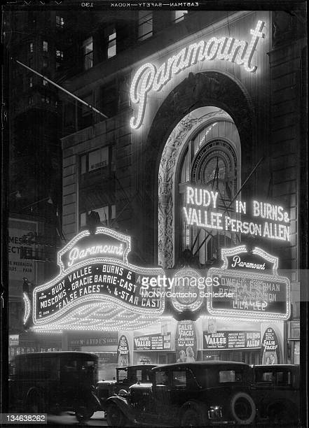View of Times Square at night showing the Paramount Theatre marquis Fortythird Street | Broadway | Paramount Theatre