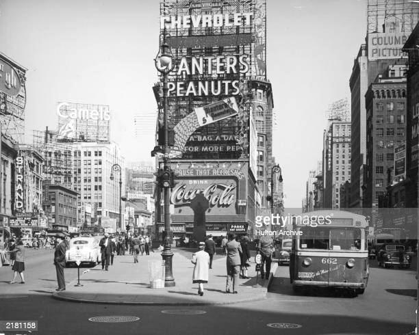 View of Times Square at the intersection of Broadway and 7th Avenue, New York City, New York, 1941.