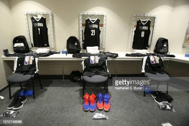 A view of Timothe LuwawuCabarrot Joel Embiid and AlFarouqAminu of Team Africa dressing room during the NBA Africa Game 2018 as part of the Basketball...