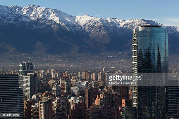 View of Titanium Tower and the Andes on the back on February 14 2015 in Santiago de Chile Chile Santiago will be one of the eight host cities of the...