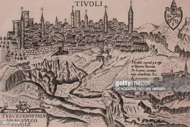 View of Tivoli with the caption Tibur venus tal urbs vulgo Tivoli and crest Lazio Italy burin engraving3x11 cm from Theatro delle citta d'Italia con...