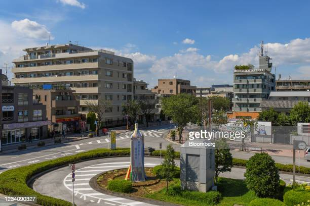View of Tobitakyu Station, the main train station for access to Ajinomoto Stadium, ahead of an opening round women's football match between the U.S....