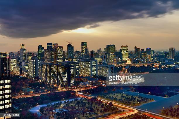View of Tokyo  at sunset