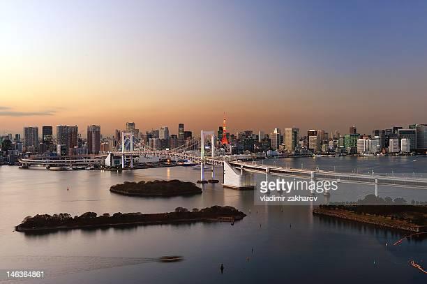 View of Tokyo bay at sunset