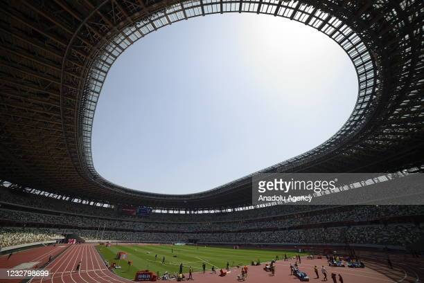 View of Tokyo Olympic Stadium as 420 athletes attend test event ahead of Tokyo Olympics which will be held between July 23 to August 8 in Tokyo,...