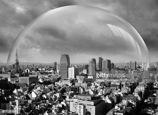 View of Tokyo under protective glass sphere.